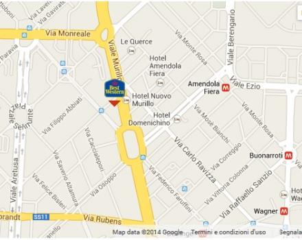 Hotel Astoria map of its location near the Mico, and fiera Milano at San Siro